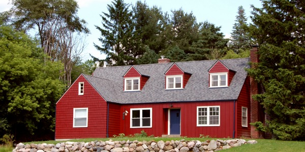 red rural house
